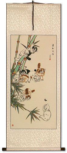 Ten Kittens in the Bamboo Wall Scroll