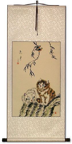 Chinese Kittens Wall Scroll