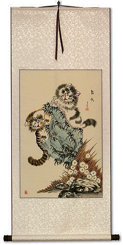 Playful Cats Wall Scroll