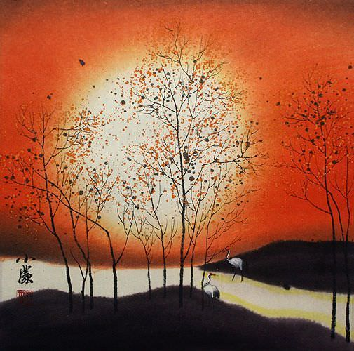 Sounds of Autumn Cranes Chinese Landscape Painting