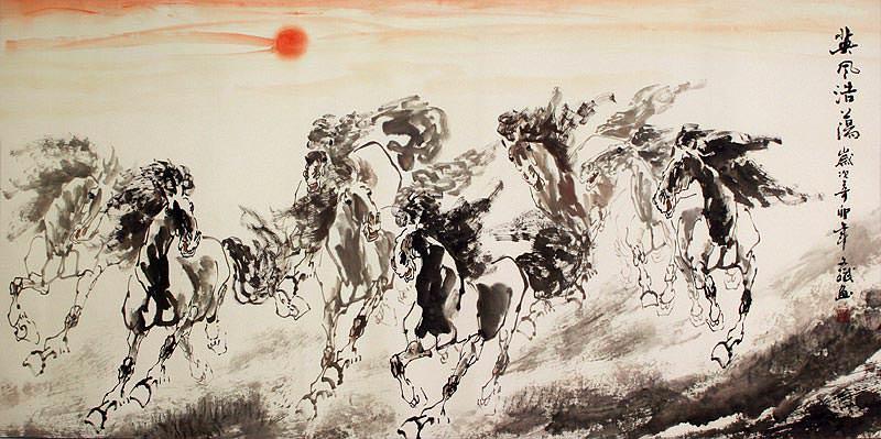 Large Chinese Horse Painting