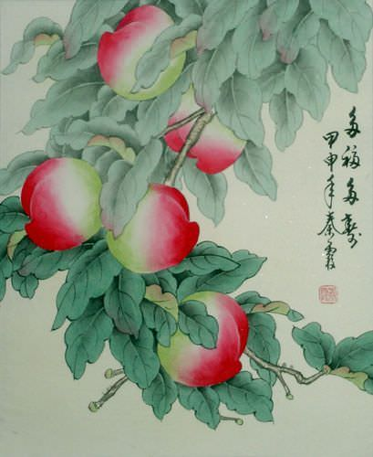 Wishing You a Happy and Long Life - Peaches Painting