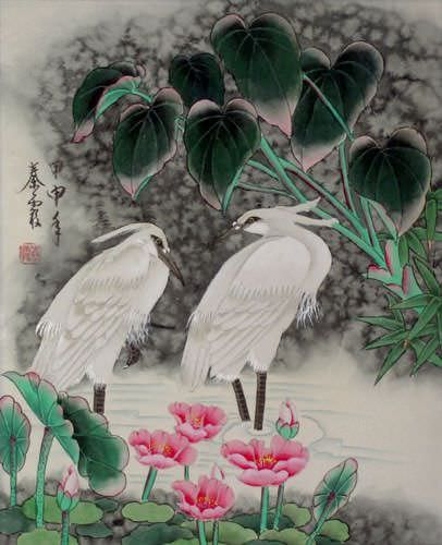 "See how ""Egrets - Early Morning Dew Painting"" would look after being professionally framed"