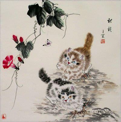 Autumn Rhythm Kittens Painting
