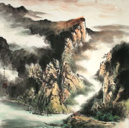 Southern China Riverside Village - Light of Dawn Painting