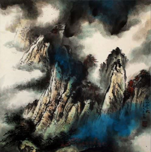 Huang Mountain - Clouds and Pine Forest - Chinese Landscape Painting