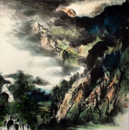 "See how ""Chinese Waterfall Landscape Painting"" would look after being professionally framed"