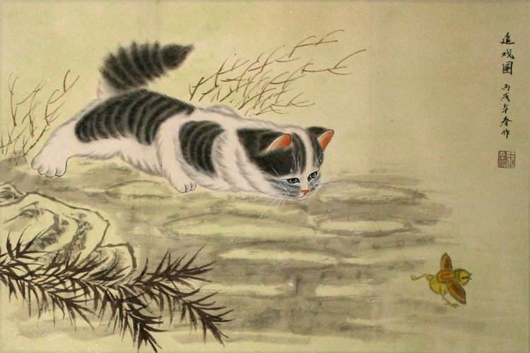 Kitten Chasing Bird - Asian Painting