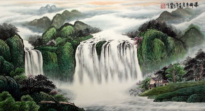 "See how ""Waterfall Hanging on the East Cliff - Large Landscape Painting"" would look after being professionally framed"