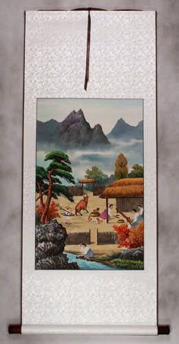 North Korean Harvest Time Wall Scroll