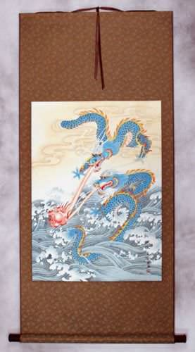 Two Dragons Pearl Fireball Revelry - Wall Scroll