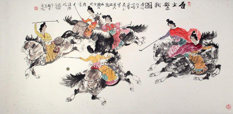 Traditional Chinese Horseback Polo - Large Painting