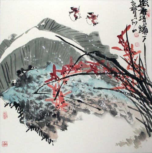 Abstract Birds and Flowers - Chinese Painting