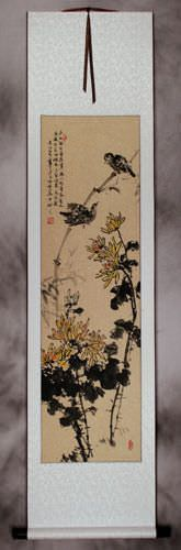 Birds and Chrysanthemum Flowers Wall Scroll