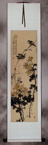 Birds and Chrysanthemum Flowers Wall Scroll