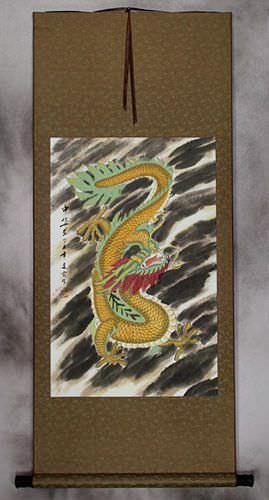 Golden Chinese Dragon - Silk Wall Scroll