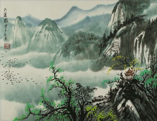 Chinese Mountain Pagoda Landscape Painting