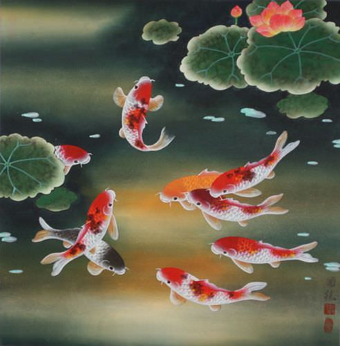 "See how ""Nine Koi Fish and Lotus Flowers Painting"" would look after being professionally framed"