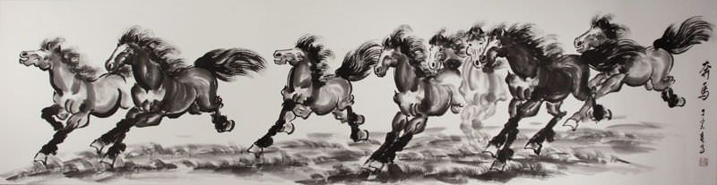 Running Horses - Chinese Black Ink Painting