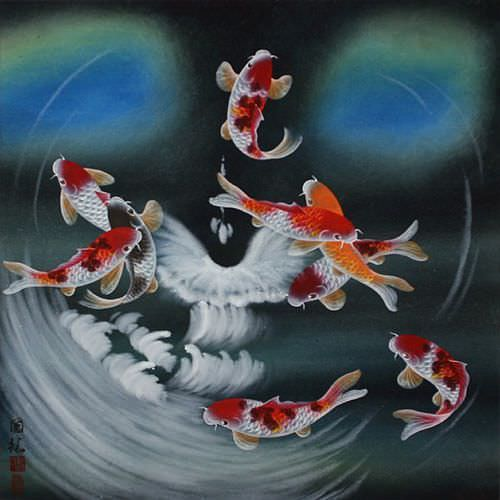 "See how ""Blue Dreams Koi Fish Masterpiece Painting"" would look after being professionally framed"
