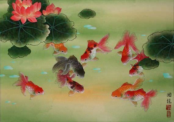 Chinese kunst met acht rode en één zwarte goudvis.