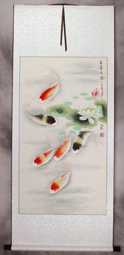 Japanese Koi Fish and Lotus - Silk Wall Scroll