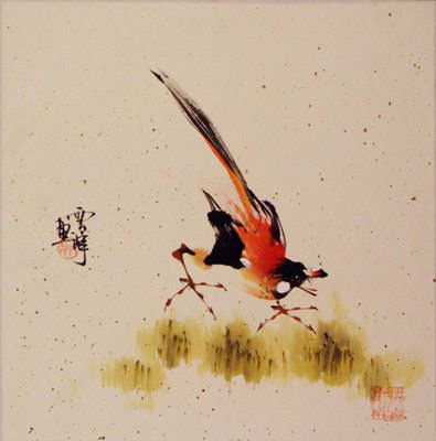 "See how ""Bird on a Branch Painting"" would look after being professionally framed"