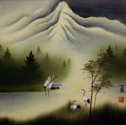 "See how ""Cranes Dance at Pine Mountain - Asian Art Painting"" would look after being professionally framed"