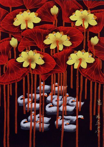 "See how ""Swan - Catching Breath - Chinese Folk Art Painting"" would look after being professionally framed"