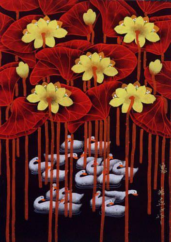 Swan - Catching Breath - Chinese Folk Art Painting