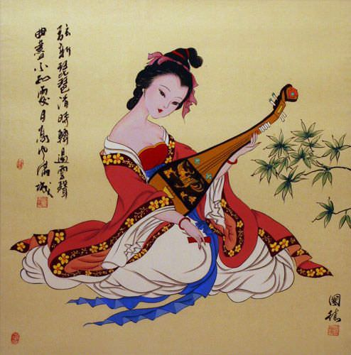 "See how ""Antique-Style Chinese Woman Playing Lute Painting"" would look after being professionally framed"