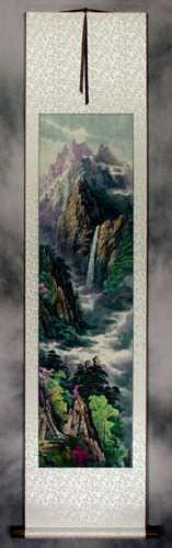 North Korean Waterfall Landscape Wall Scroll