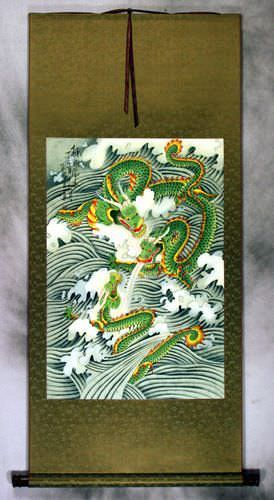 Dragons Play in the Sea - Chinese Silk Wall Scroll