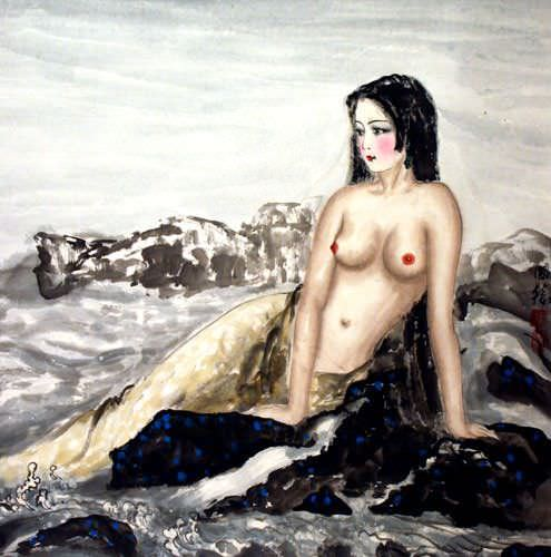 Nude Asian Woman at the Beach Painting