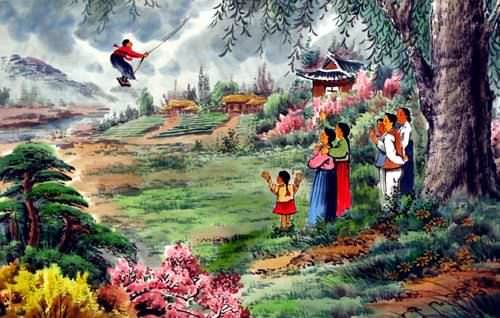"See how ""North Korean Swinging Fun Painting"" would look after being professionally framed"