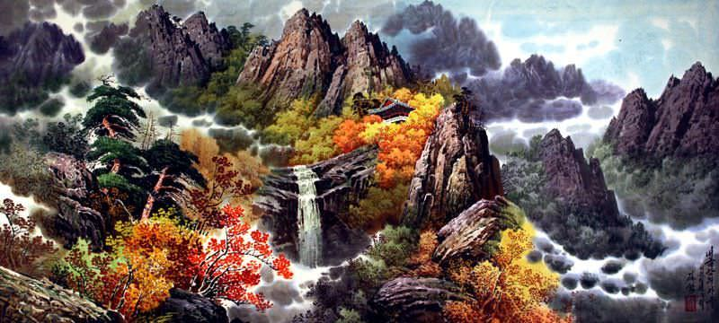 North Korean Home by the Waterfall Painting