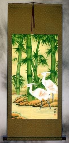 Big Egrets and Green Bamboo Wall Scroll