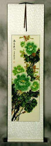 Chinese Green Peony Flower Wall Scroll