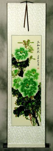 Green Peony Flower Wall Scroll