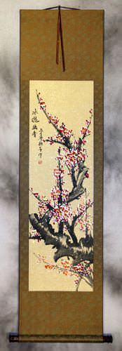 Colorful Reddish-Pink Plum Blossom Wall Scroll