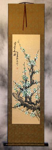 Colorful Green Plum Blossom Wall Scroll
