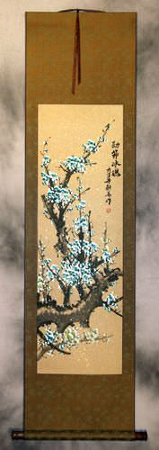 Colorful Blue Plum Blossom Wall Scroll
