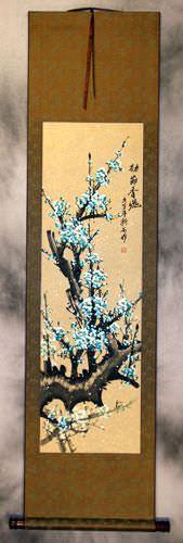 Crystal-Blue Plum Blossom Wall Scroll