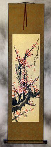 Pink Plum Blossom Wall Scroll