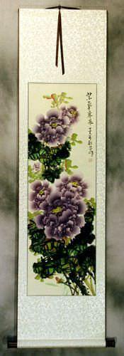 Purple Peony Flower Wall Scroll