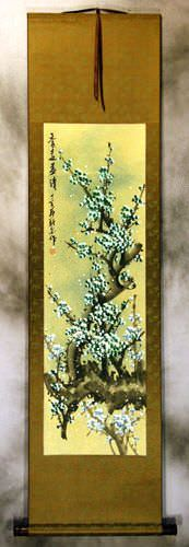 Colorful Blue Plum Blossom Wall Scroll