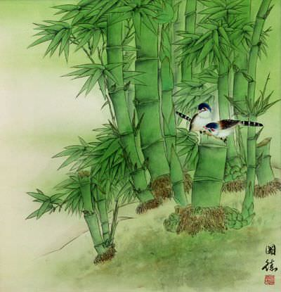 "See how ""Birds and Green Bamboo Painting"" would look after being professionally framed"