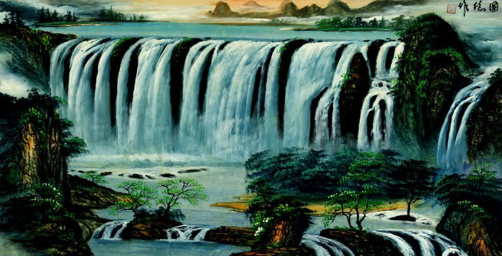 "See how ""Big Waterfall Landscape Painting"" would look after being professionally framed"