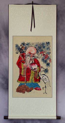 God of Longevity - Woodblock Print Wall Scroll